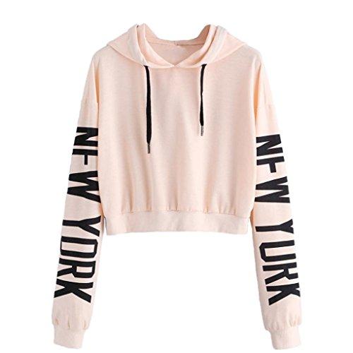 OVERDOSE Damen Hoodie Pullover Strickjacke Crop Top Coat Sport Pullover Tops (S, U-X-Beige)