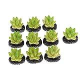 perfeclan Paquet De 10 Faux Plantes Vertes en Pot avec Elliptiques Pots Noirs pour...