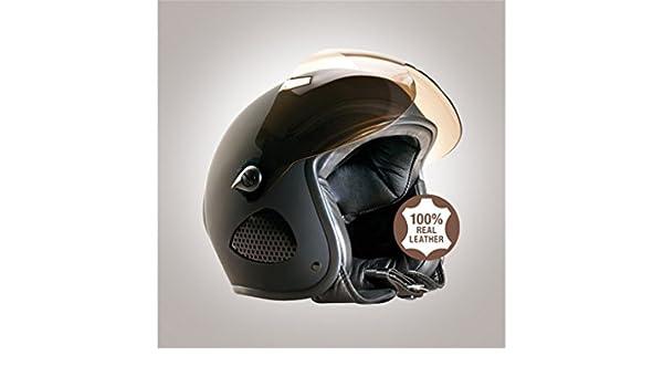 CE-EN1077 Sportpr/üfung Ohne ECE Gr/ö/ße 2XL 60/_61 cm Bores SRM Slight 2 Leder Jethelm Schwarz-Matt Designed by Gensler Get/öntes Visier