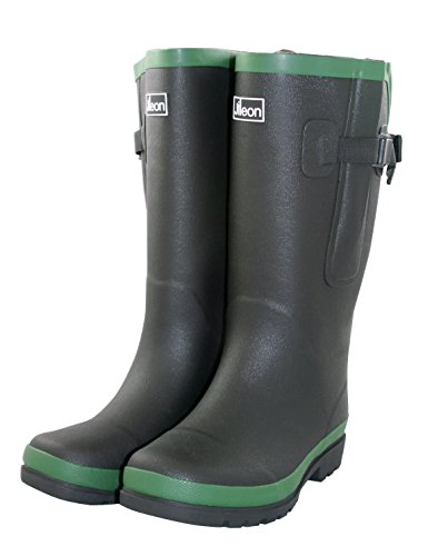 Jileon Extra Wide Calf Rubber Black Rain Boots with Rear Expansion -Widest Fit Boots in The US-up to 21 inch Calves-Wide in The Foot and Ankle-Durable Boots for All Weathers