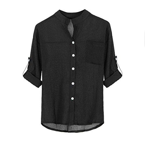 MRULIC Damen Mädchen Langarm Gedruckt Shirt Beiläufige Lose Baumwolle Frühling Herbst Tops Solide Elegante T-Shirt mit Knöpfe (EU-44/CN-2XL, Schwarz) (Wars Ausgeschnitten Star)