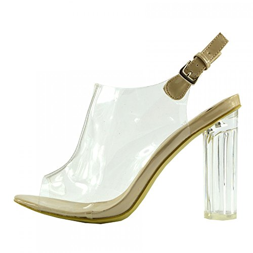 Heels Perspex Up High Womens Footwear Girls Party Nude Ladies Shoe Size Clear Long Kick Strap Lace Tcy20 SYFfI