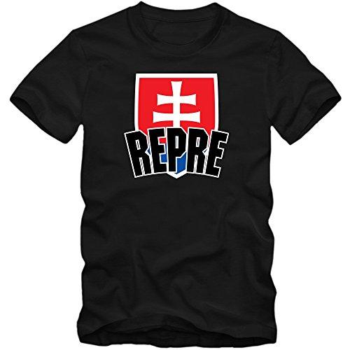 Slowakei EM 2016 #4 T-Shirt | Fußball | Herren | Trikot | Repre | Nationalmannschaft © Shirt Happenz Schwarz (Deep Black L190)