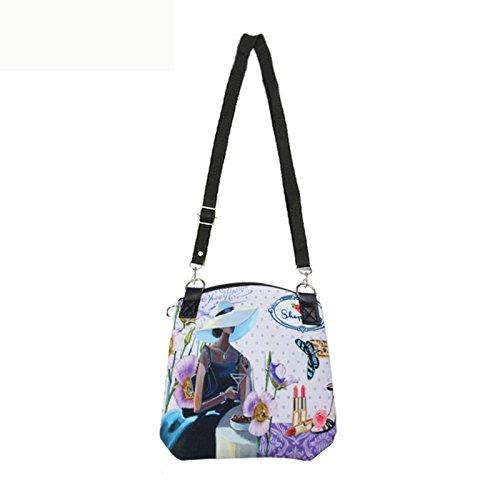 21 borsa di tela - TOOGOO(R)Donne Messenger Borse Vintage Canvas Stampa Piccolo Satchel spalla di stile europeo ragazze della borsa della signora di Crossbody Giallo 21 Viola