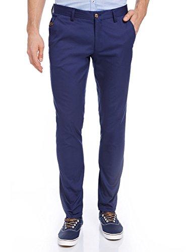 oodji Ultra Hombre Pantalones de Algodón Slim Fit, Azul, ES 44 (L)