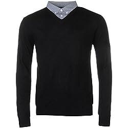 Pierre Cardin época del año V de Recorte de Jersey con Cuello de Camisa Mock Camisa Uso Negro/Azul Large