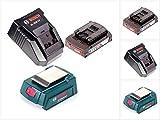 Bosch USB Power Set 18 V mit GAA Professional USB Adapter für 14,4 V / 18 V Akkus + 1x GBA 18V 2,0 Ah Li-Ion Einschub Akku + 1x Schnell Ladegerät AL 1820 CV