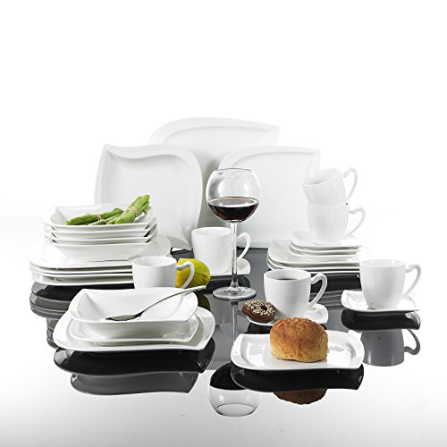 MALACASA, Série Elvira, 30pcs Service de Table Complets Porcelaine, 6 Tasses, 6 Soucoupe, 6 Assiettes à Dessert, 6 Assiettes à Soupe, 6 Assiettes Plates pour 6 Personnes