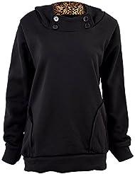 SODIAL (R) Mujeres sudadera con capucha Sudadera leopardo Tops Escudo Blusas Sueter Abrigos Negro - L