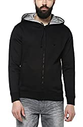 AMERICAN CREW Mens Cotton & Polyester Blend Hoodie Jacket (AC1284-L, Black, Large)