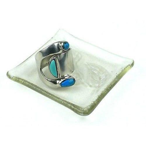Geätzt Blatt Recycling Glas klar Ring Tablett-Tili Glas (G) -