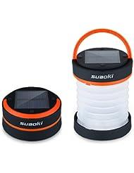 Suaoki - Mini Linterna LED Solar plegable y impermeable (recargable con luz solar y USB, para camping, tienda de campaña) Naranja