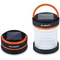 SUAOKI - Mini Linterna Camping LED Solar Ligera, Plegable y Impermeable (Recargable con luz Solar y USB, Acampada, Tienda de campaña) Naranja