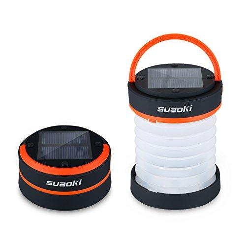 SUAOKI - Mini Linterna Camping LED Solar Plegable y Impermeable (Recargable con luz Solar y USB, Acampada, Tienda de campaña) Naranja