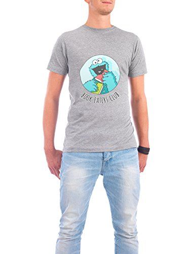 "Design T-Shirt Männer Continental Cotton ""Book Monster"" - stylisches Shirt Kindermotive Comic von Cristina Castro Moral Grau"
