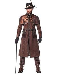 shoperama Steam Punk Hombre Abrigo marrón/Negro Disfraz Chaqueta Estilo Victoriano, Industrial de Gran