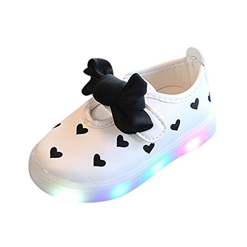 VENMO Kleinkind LED Sandalen Kinder Bowknot Kinder Baby Herz Schuhe LED leuchten leuchtende Turnschuhe LED Schuhe Kids Light shoes Junge Girls blinken Sport Running Sneaker Baby shoes (White, 30) (Kid Running Sneaker)