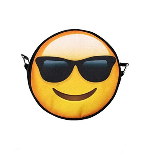 Black Out Emoji Smiley mit Sonnenbrille Handtasche Tasche mit Henkel rund
