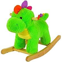 Homcom® Caballo Balancín columpio infantil de peluche caballito balancín de juguete (Balancín dinosaurios/verde)