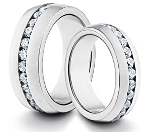 His & Her's 8MM/6MM Titanium Comfort Fit Wedding Band Ring Set w/ Polished Finish & CZ Diamonds (Available Sizes H - Z+2) EMAIL US WITH YOUR SIZES