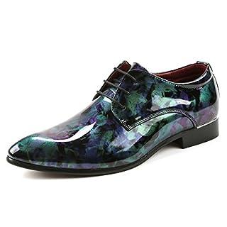 Jingkeke Herren-Lackschuhe aus PU-Lackleder Klassische Schnürschuhe mit Schnürung Gefütterte Formale Business-Halbschuhe für Herren auffällig (Color : Grün, Größe : 44 EU)