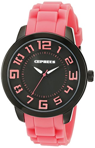 Cepheus Women's Quartz Watch with Black Dial Analogue Display and Pink Silicone Strap CP604-624