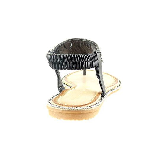 Angkorly - damen Schuhe Sandalen - Slip-On - Offen - Schmuck - Strass flache Ferse 1 CM Schwarz
