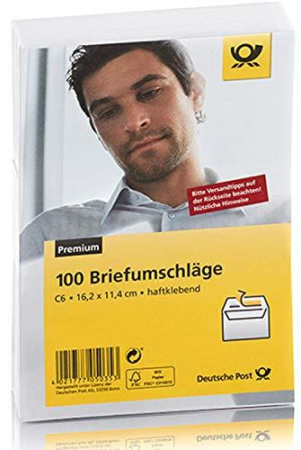 Deutsche Post 100 Umschläge C6 / weiß, haftklebend, ohne Fenster / w. hk oF.
