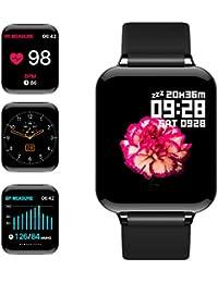 jpantech Smartwatch Donna Uomo Orologio Fitness Impermeabile IP68 GPS Intelligente Pressione Sanguigna Cardiofrequenzimetro per iPhone Android Huawei Samsung (Nero)