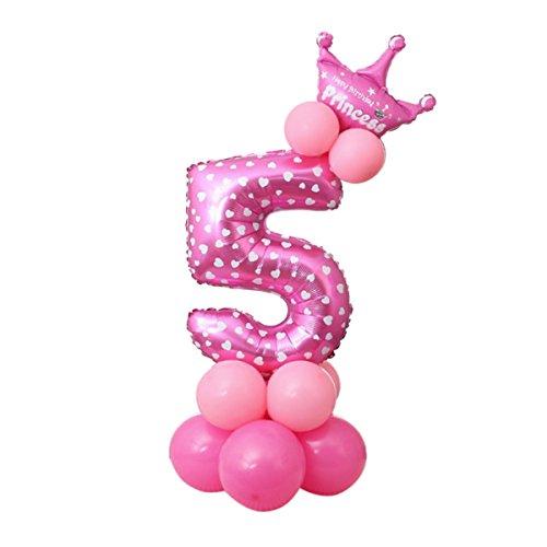 Decoración de Fiesta Cumpleaños Conjunto globos 23 Piezas Doradas Globos de Látex y de Papel de Aluminio Rosa cinco Talla Única