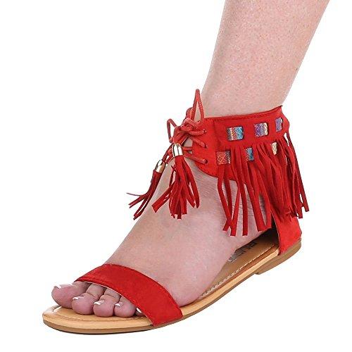 Damen Schuhe, FC16-A31, SANDALEN MIT FRANSEN Rot