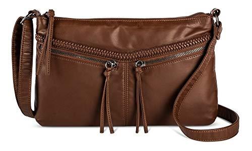 Bueno Damen Handtasche Washed Crossbody, Braun (schokoladenbraun), Small -