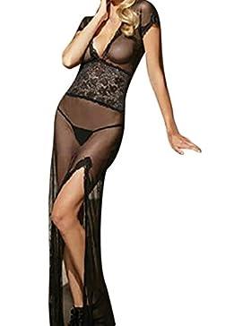 BBsmile mujeres de moda Sexy falda larga V-Neckline Tentación Sexy ropa interior camisón