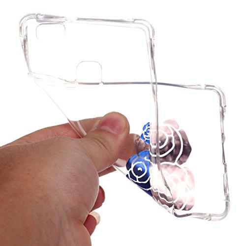 HUAWEI P9 Lite Coque,HUAWEI P9 Lite Gel Motif métallique TPU Case Feeltech Apple iPhone SE Case Silicone Clair Ultra Mince Premium Bumper iPhone 5S Housse Légère Étui Protecteur Transparente Souple Co Rose bleue
