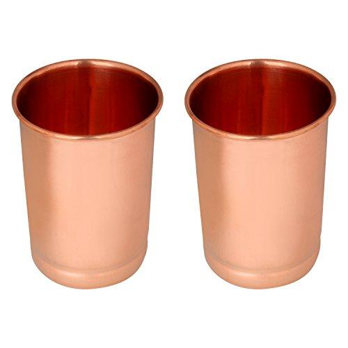 Zap Impex ®–Vasos de Cristal de Cobre 100% Cobre Puro zuhaltung ayurvedischen Heil Juego de 2