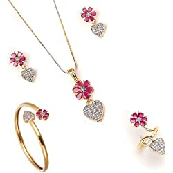 Valentine Gift by Zeneme Combo of Heart Shaped Gold Plated White Colored and American Diamond Pendant with Earrings, Bracelet and Ring for Women (Red)