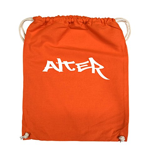 Comedy Bags - ALTER - GRAFFITI - Turnbeutel - 37x46cm - Farbe: Schwarz / Silber Orange / Weiss