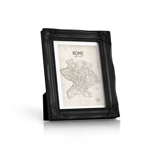 Cadre photo Baroque Ornementé 13x18 cm - Vitre en VERRE - Passe-partout pour photo 10x15 cm inclus - Cadre de 2,5 cm d'épaisseur - Style Rococo Shabby Chic - Noir Vieilli