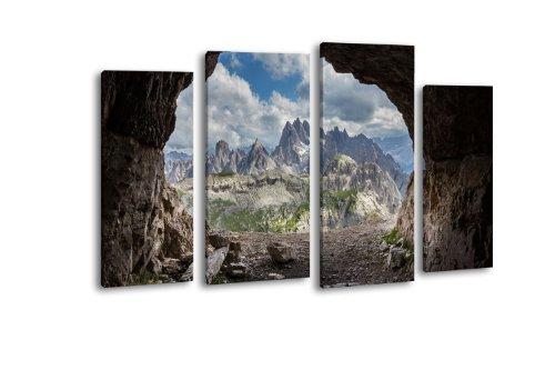 Leinwandbild Dolomiten LW191 Wandbild, Bild auf Leinwand, 4 Teile, 180x100cm, Kunstdruck Canvas, XXL...