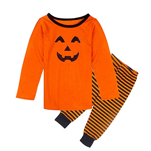 Riou Kinder Langarm Halloween Kostüm Top Set Baby Kleidung Set Halloween Kürbis Familie Kid Boy Girl Pyjama Set Gestreifte Trampler Overall Nachtwäsche (110, Orange)