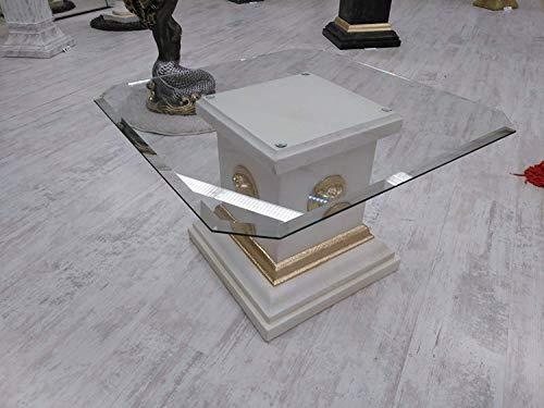 Karo Medusa COUCHTISCH Tisch MÄANDER GLASPLATTE GLASTISCH Tisch Couch BAROCK Design LIEBEVOLL HANDBEMALT WOHNTISCH