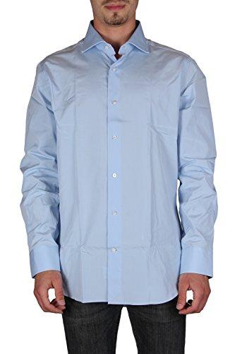Truzzi uomo r153/et46 camicie maniche lunghe slim fit made in italy azzurro 43