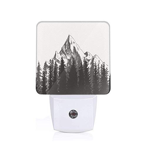 Mountain With Fir Forest Trees And Native American Arrow Figure Folk Style Retro Theme Print Plug-in LED Night Light Lamp with Dusk to Dawn Sensor, Night Home Decor Bed Lamp
