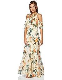 Roman Originals Robe Maxi Longue Épaules Dénudés Légère Floral - Femme