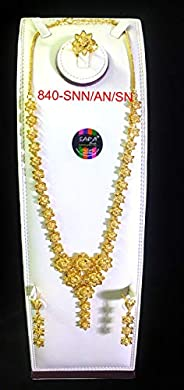 Modern Arabic 24k Gold-plated Jewelry Set - Long-necklace and Earrings with Tassels and Finger-ring - Nickel F
