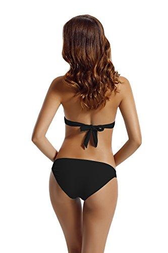 Zeraca Damen Hipster Halter Strap Triangle Push up Bikini Bademode Schwarz