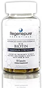 Regenepure Essentials Hair Loss Supplement - Vitamins for Hair Loss with Biotin for Hair Growth- 90 Capsules