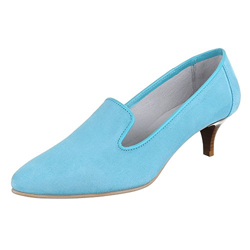 Ital-Design Damen Schuhe, 4341A, Pumps, Bequeme Komfort Leder, Wildleder, Hellblau, Gr 38