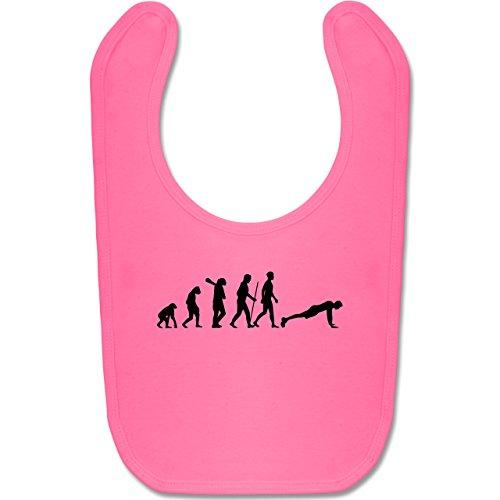 Shirtracer Evolution Baby - Liegestütze Evolution - Unisize - Pink - BZ12 - Baby Lätzchen Baumwolle