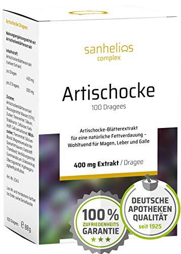 Sanhelios® Artischocke-Blätterextrakt für eine natürliche Fettverdauung | 400 mg nativer Extrakt je Dragee | 100 Drages | Nur natürliche & pflanzliche Zutaten | Apothekenqualität, made in Germany